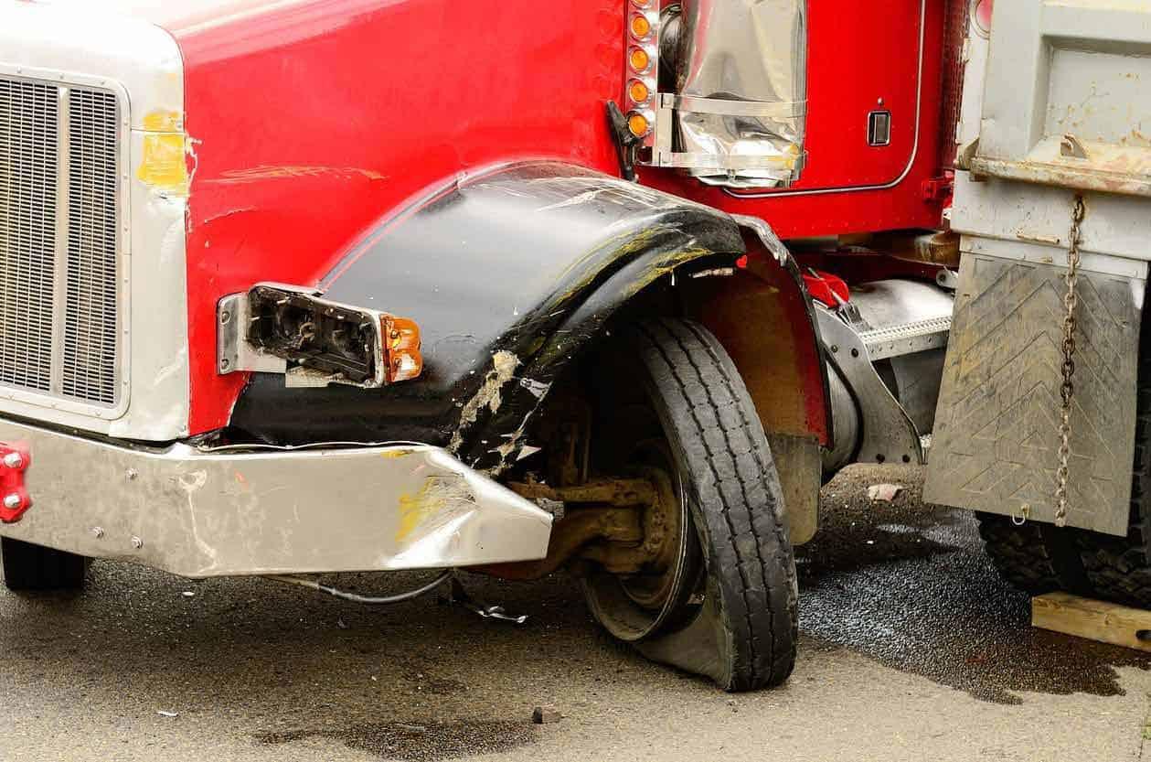 18-wheeler damaged after an accident