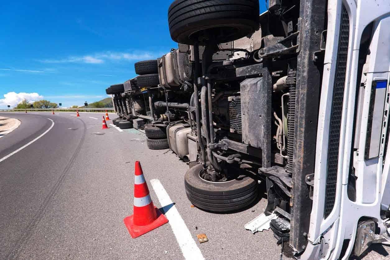 overturned 18-wheeler