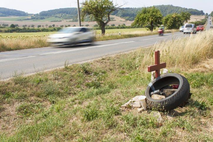 Memorial site of tragic traffic accident