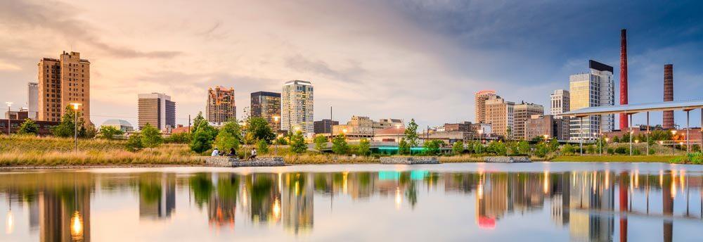 Birmingham Alabama skyline reflecting on the water
