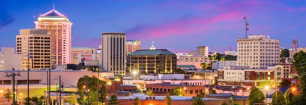 Montgomery Alabama skyline at dusk