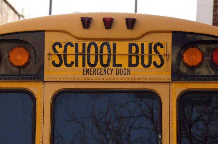 school bus, rear end of a school bus
