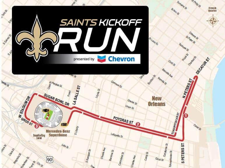 saints kickoff run 2018, saints 5k race course, 5k course map