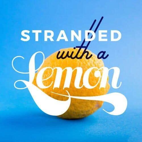 stranded with a lemon square image with lemon fruit on blue background