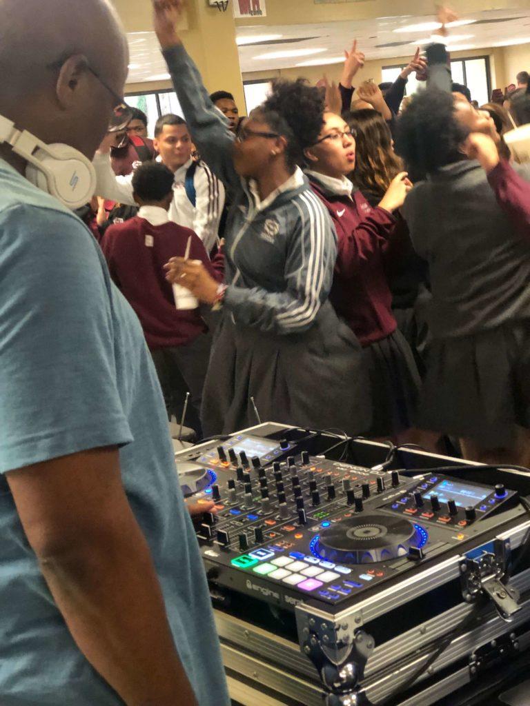 q93 dj gets the party going at de la salle high school