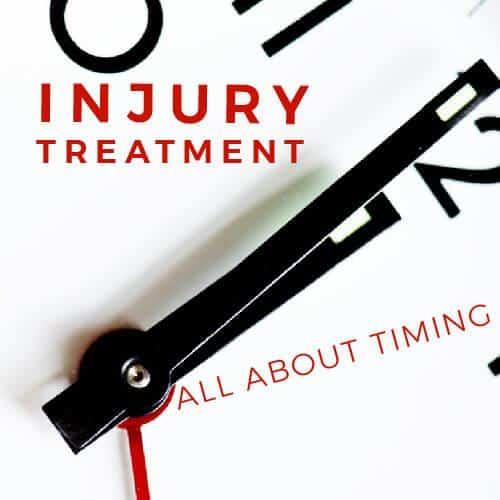 injury treatment overlaid on white analog clock