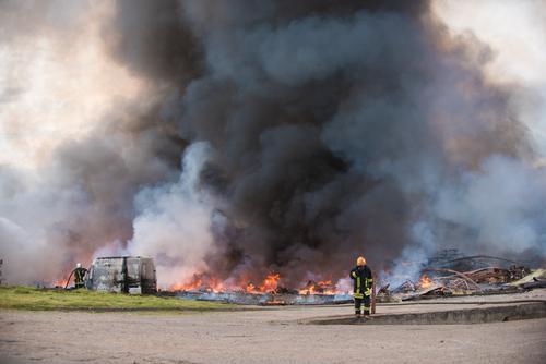 Falling Debris Causes a Bus Fire