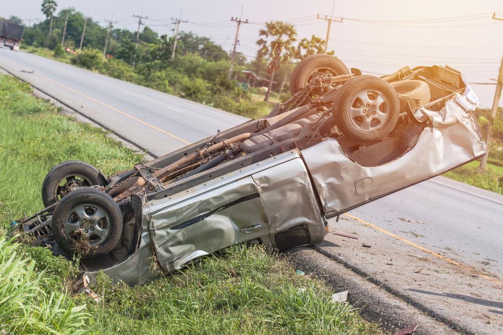 silver car rollover crash