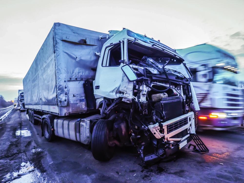 crushed truck cabin