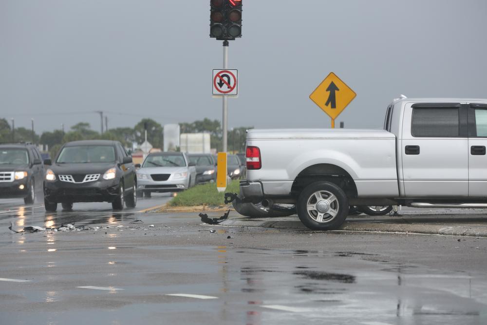 debris left in intersection after car crash
