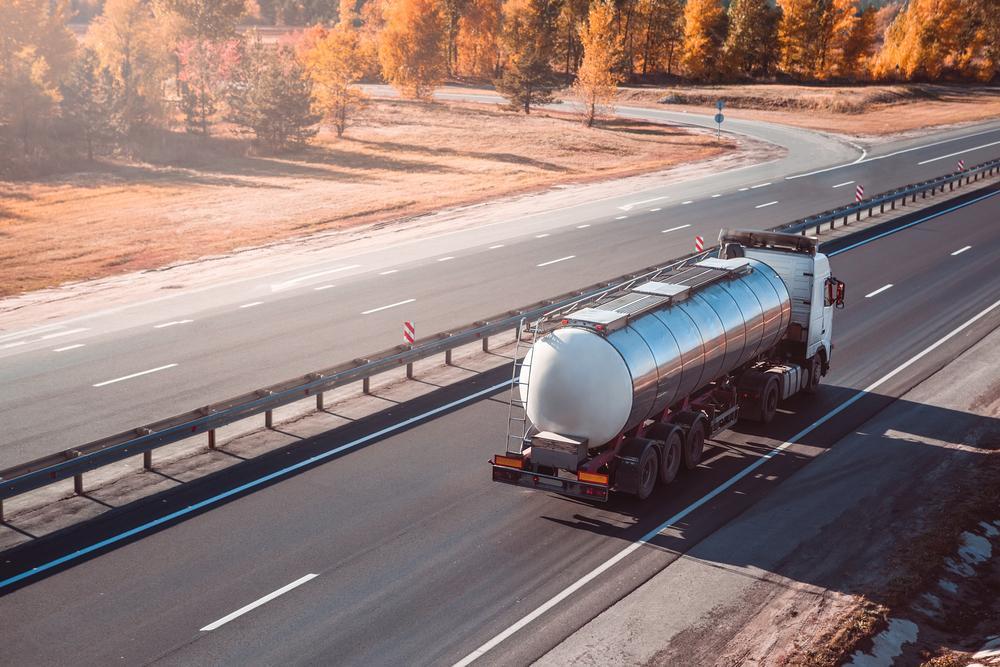 fuel truck travels down highway