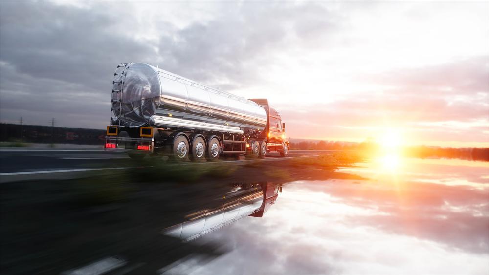 gasoline tanker speeds down highway