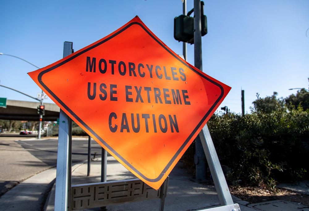 motorcycle warning sign